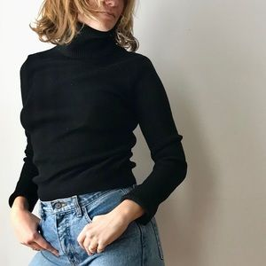 vintage 60s black ribbed wool turtleneck sweater